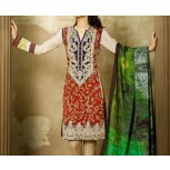 Lawn 3 Piece Suit - Embroidered Lawn with Silken Dupatta
