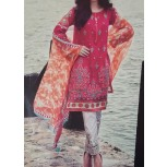 Embroidered Lawn Suit with & Chiffon Dupatta (3 Piece suit)