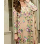 3 Piece Suit - Embroidered Chiffon Suit with Embroidered Dupatta