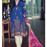 Blue Embroidered Lawn Suit with Chiffon Dupatta (3 Piece suit)