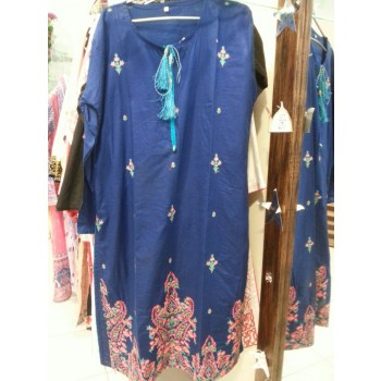 Blue Kurti Lawn with Embroidery - (Stitched) 2016