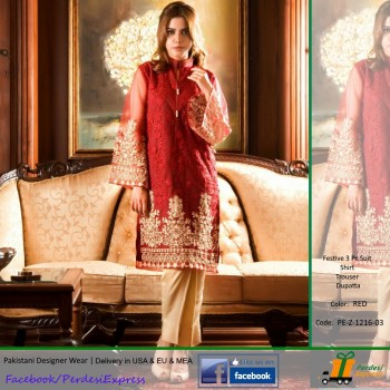 PE-3 Pcs Suit - Embroidered- Designer Collection